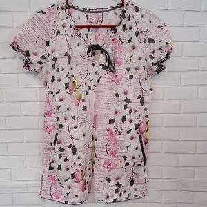 Koi by Kathy Peterson pink blouse with pockets